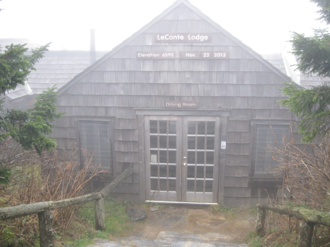 Foggy view of LeConte Lodge
